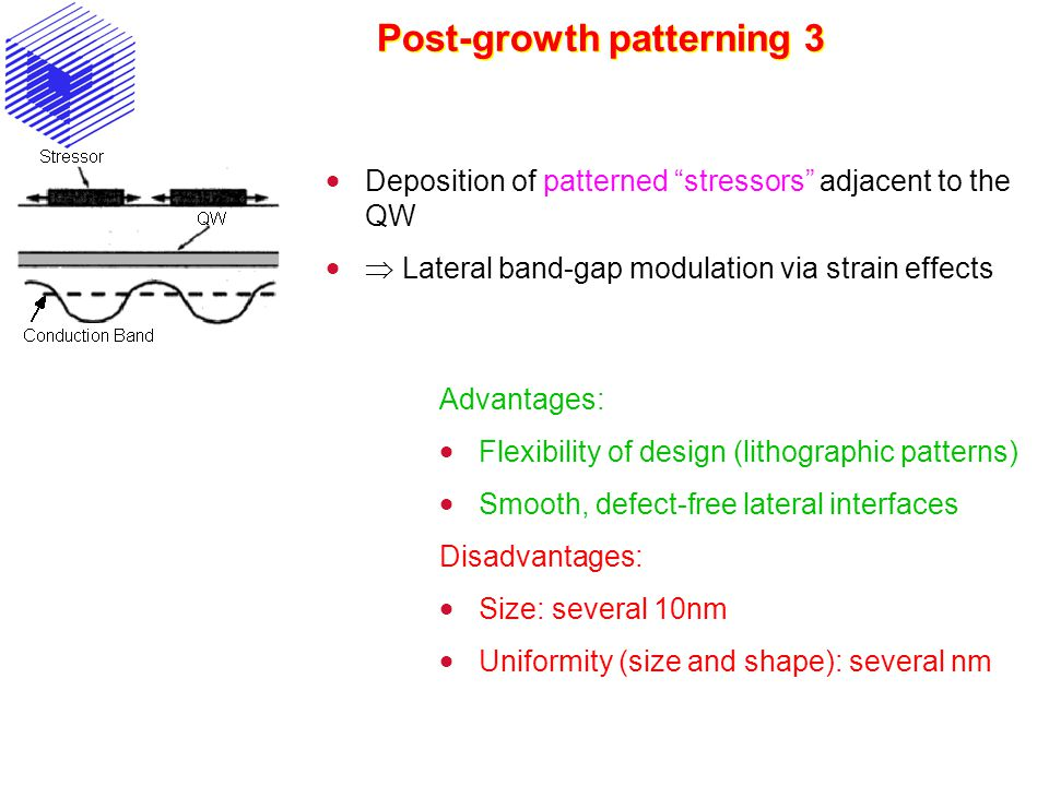 Post-growth patterning 3  Deposition of patterned stressors adjacent to the QW   Lateral band-gap modulation via strain effects Advantages:  Flexibility of design (lithographic patterns)  Smooth, defect-free lateral interfaces Disadvantages:  Size: several 10nm  Uniformity (size and shape): several nm