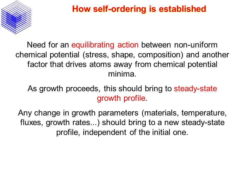 How self-ordering is established Need for an equilibrating action between non-uniform chemical potential (stress, shape, composition) and another factor that drives atoms away from chemical potential minima.