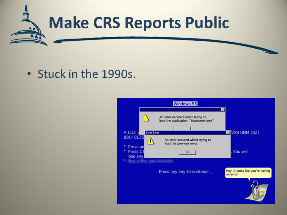 Make CRS Reports Public Stuck in the 1990s.