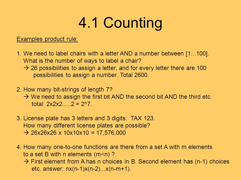 4.1 Counting Examples product rule: 1.