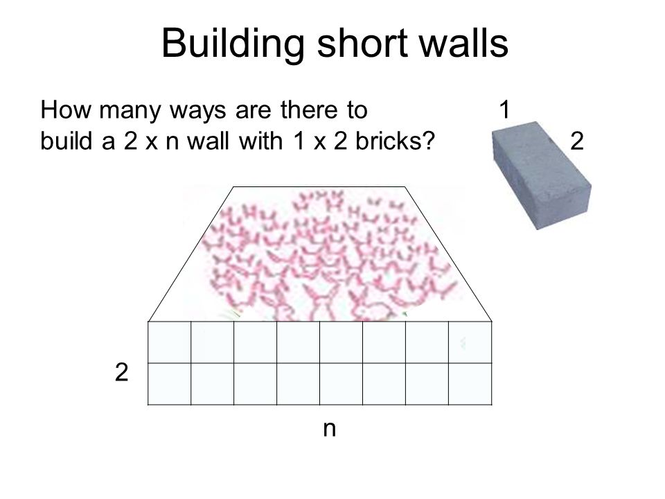 Building short walls How many ways are there to build a 2 x n wall with 1 x 2 bricks 2 n 2 1