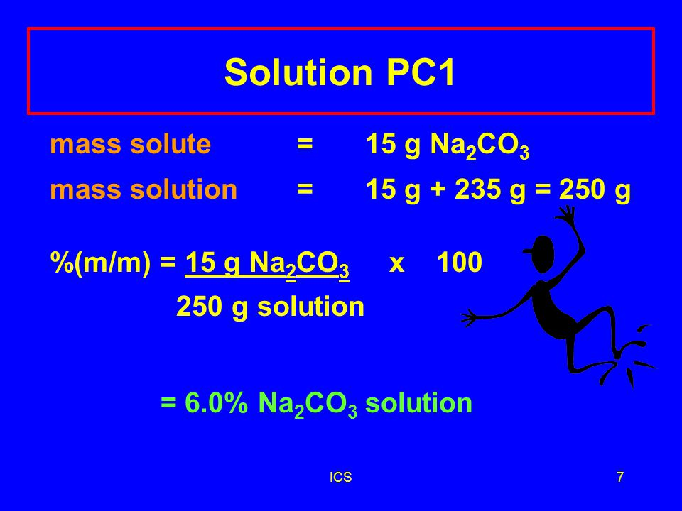 ICS6 Learning Check PC1 A solution contains 15 g Na 2 CO 3 and 235 g of H 2 O.