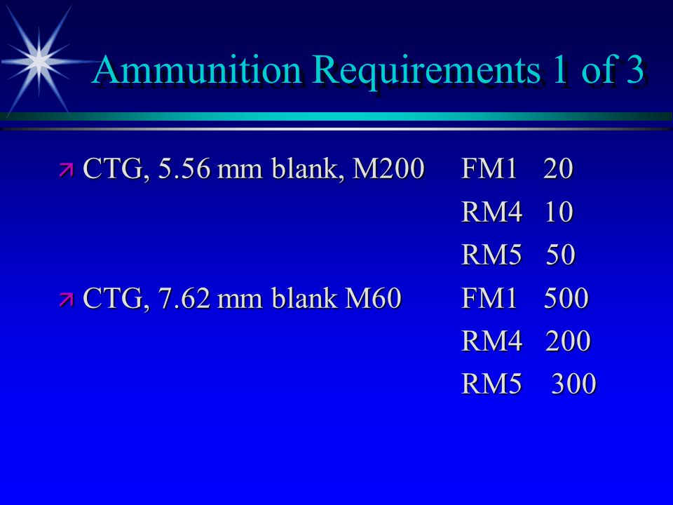 Ammunition Requirements 1 of 3 ä CTG, 5.56 mm blank, M200FM1 20 RM4 10 RM5 50 ä CTG, 7.62 mm blank M60FM1 500 RM4 200 RM5 300