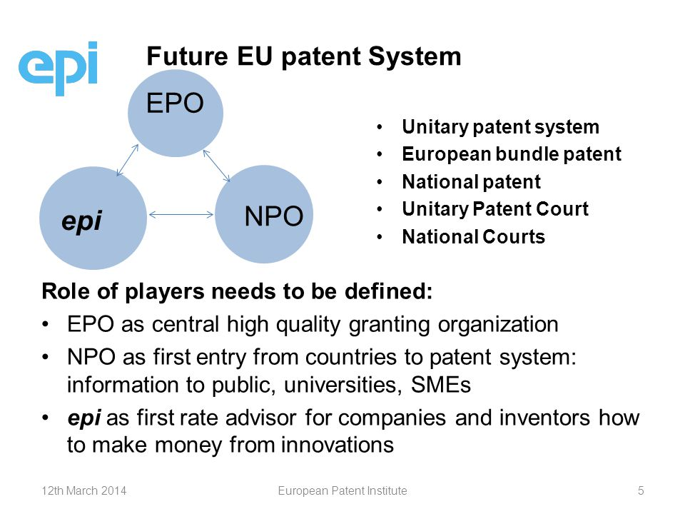 Role of players needs to be defined: EPO as central high quality granting organization NPO as first entry from countries to patent system: information to public, universities, SMEs epi as first rate advisor for companies and inventors how to make money from innovations Future EU patent System EPO NPO epi Unitary patent system European bundle patent National patent Unitary Patent Court National Courts 12th March 2014European Patent Institute5