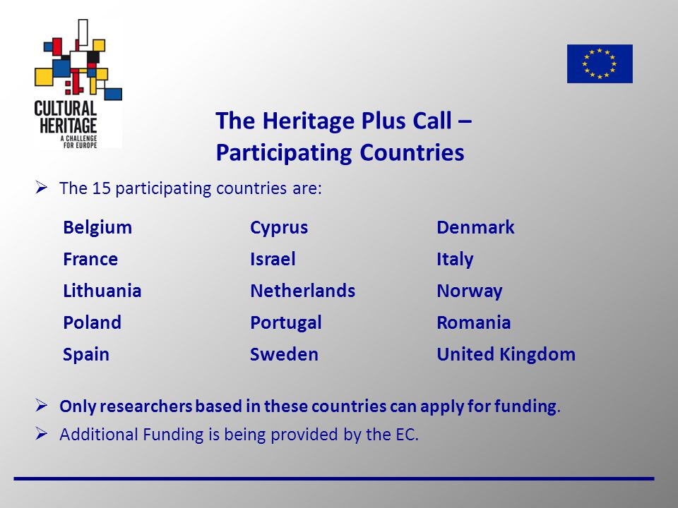 3 The Heritage Plus Call – Participating Countries  The 15 participating countries are:  Only researchers based in these countries can apply for funding.