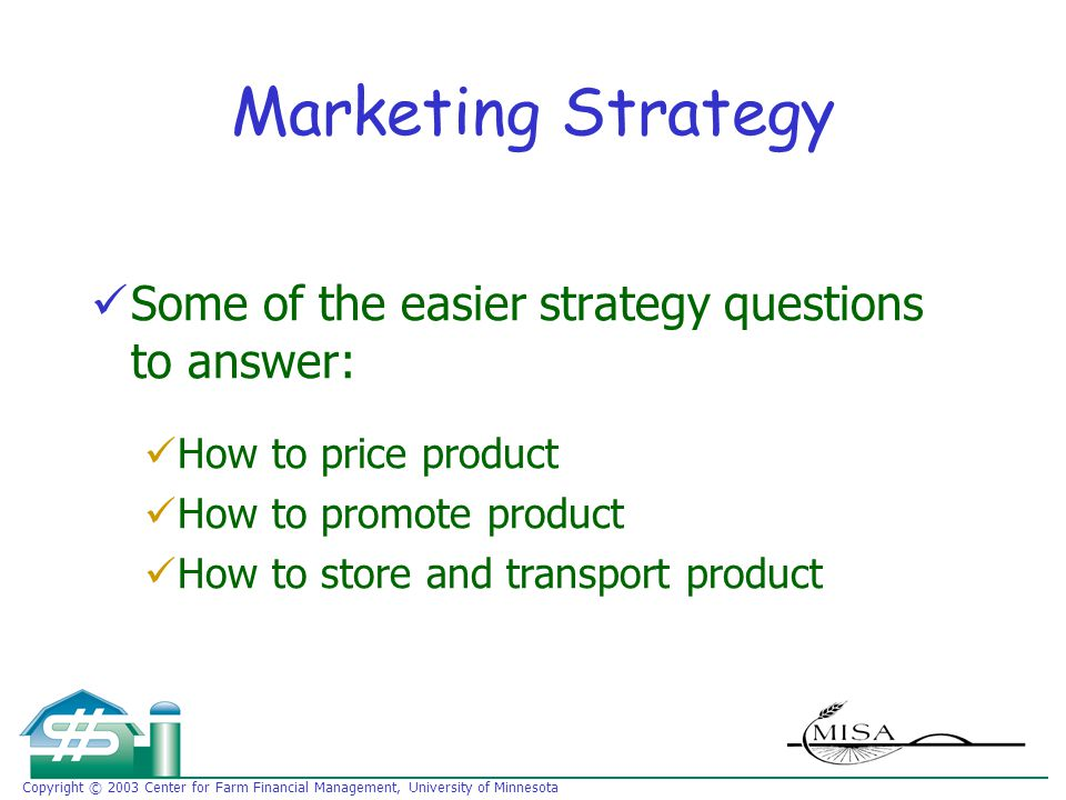 Copyright © 2003 Center for Farm Financial Management, University of Minnesota Marketing Strategy Some of the easier strategy questions to answer: How to price product How to promote product How to store and transport product