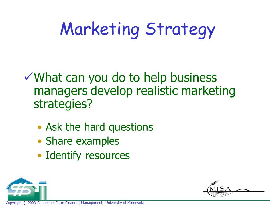 Copyright © 2003 Center for Farm Financial Management, University of Minnesota Marketing Strategy What can you do to help business managers develop realistic marketing strategies.