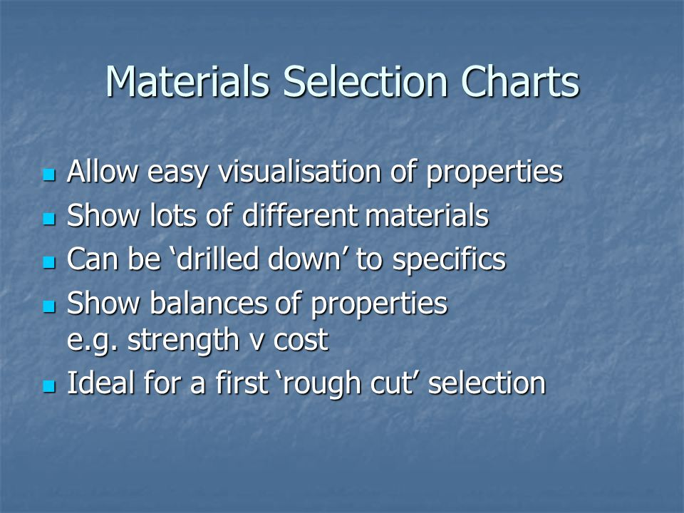 Allow easy visualisation of properties Allow easy visualisation of properties Show lots of different materials Show lots of different materials Can be 'drilled down' to specifics Can be 'drilled down' to specifics Show balances of properties e.g.