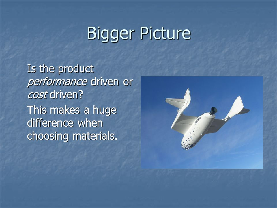 Bigger Picture Is the product performance driven or cost driven.