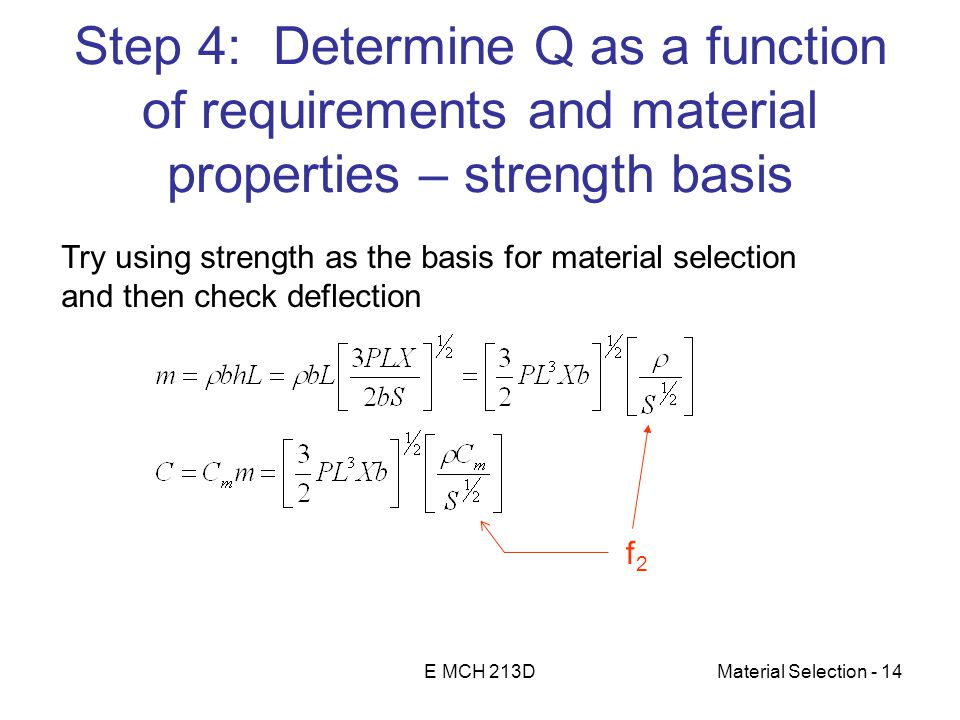E MCH 213DMaterial Selection - 14 Step 4: Determine Q as a function of requirements and material properties – strength basis Try using strength as the basis for material selection and then check deflection f2f2
