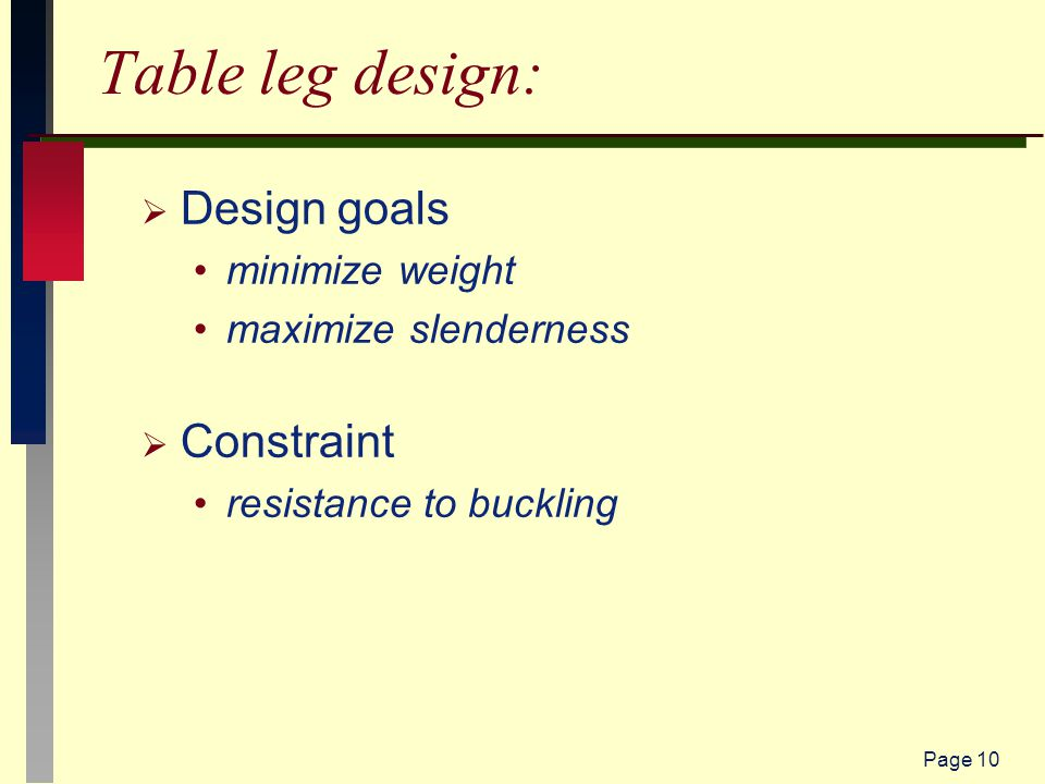 Page 10 Table leg design:  Design goals minimize weight maximize slenderness  Constraint resistance to buckling