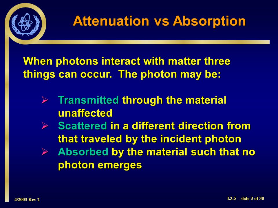 4/2003 Rev 2 I.3.5 – slide 3 of 30 Attenuation vs Absorption When photons interact with matter three things can occur.