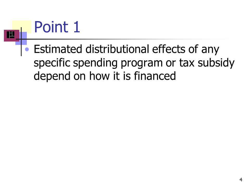 Point 1 4 Estimated distributional effects of any specific spending program or tax subsidy depend on how it is financed