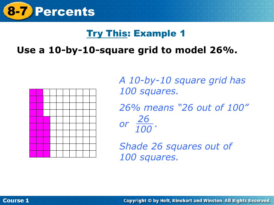 Course 1 8-7 Percents Try This: Example 1 Use a 10-by-10-square grid to model 26%.
