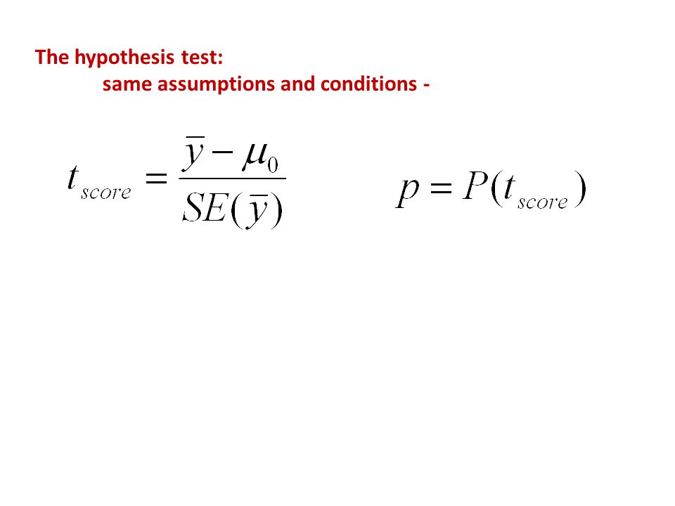 The hypothesis test: same assumptions and conditions -