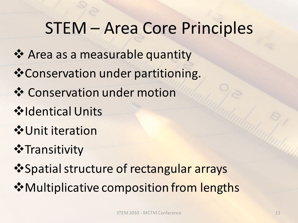 STEM – Area Core Principles  Area as a measurable quantity  Conservation under partitioning.