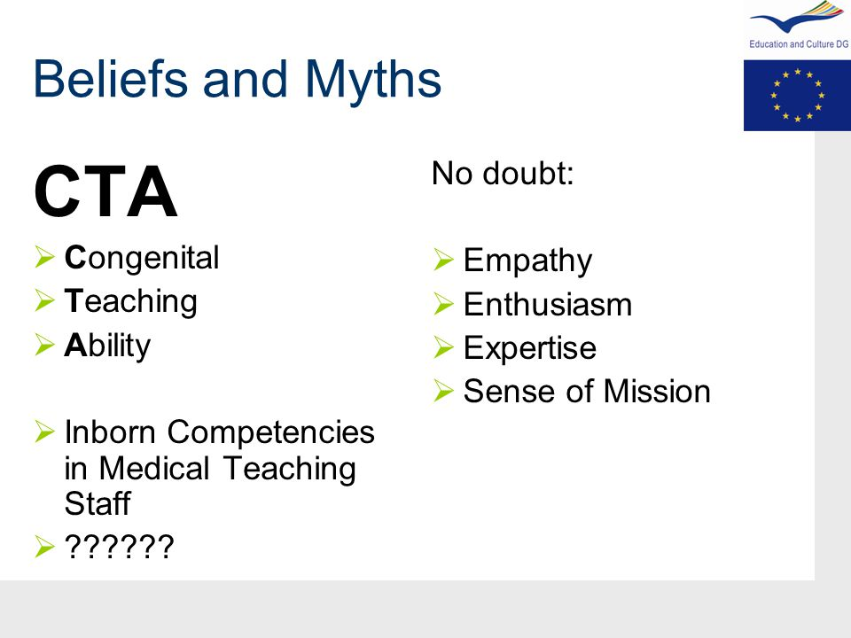 Beliefs and Myths CTA  Congenital  Teaching  Ability  Inborn Competencies in Medical Teaching Staff  .