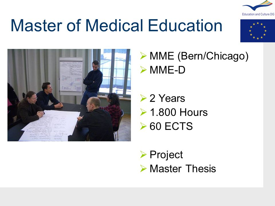 Master of Medical Education  MME (Bern/Chicago)  MME-D  2 Years  1.800 Hours  60 ECTS  Project  Master Thesis