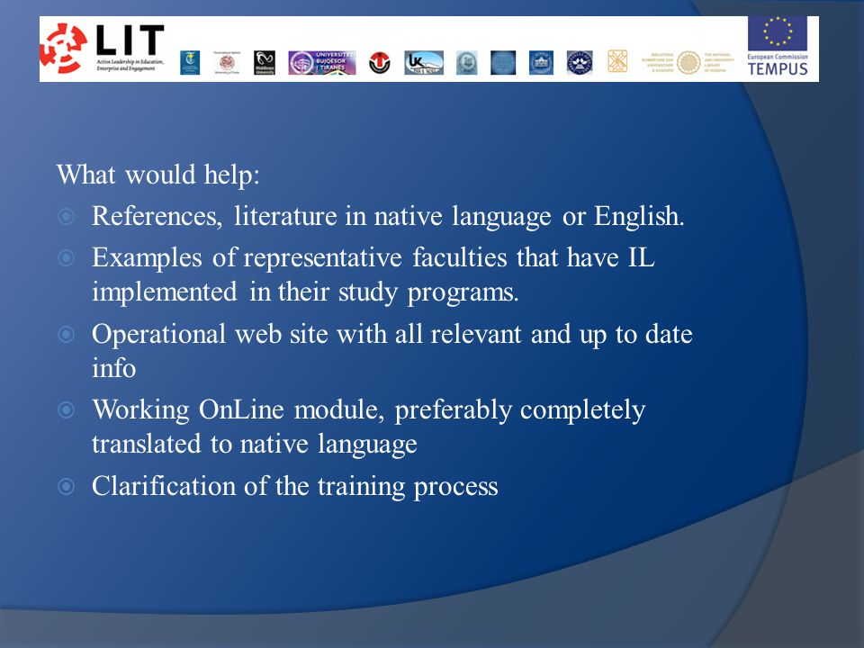 What would help:  References, literature in native language or English.
