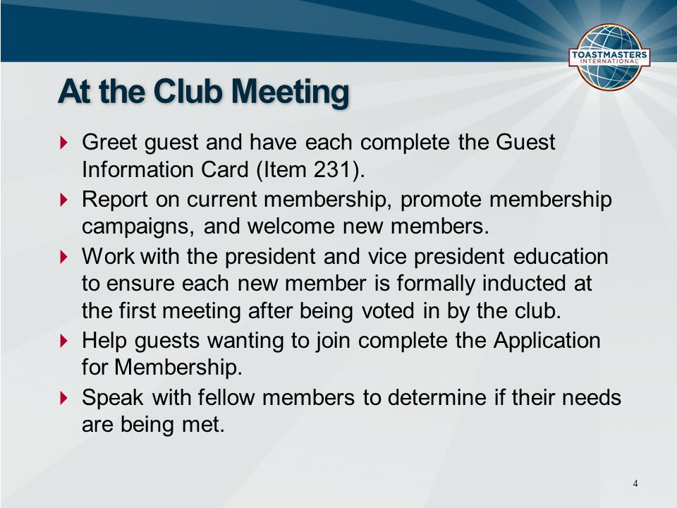  Greet guest and have each complete the Guest Information Card (Item 231).