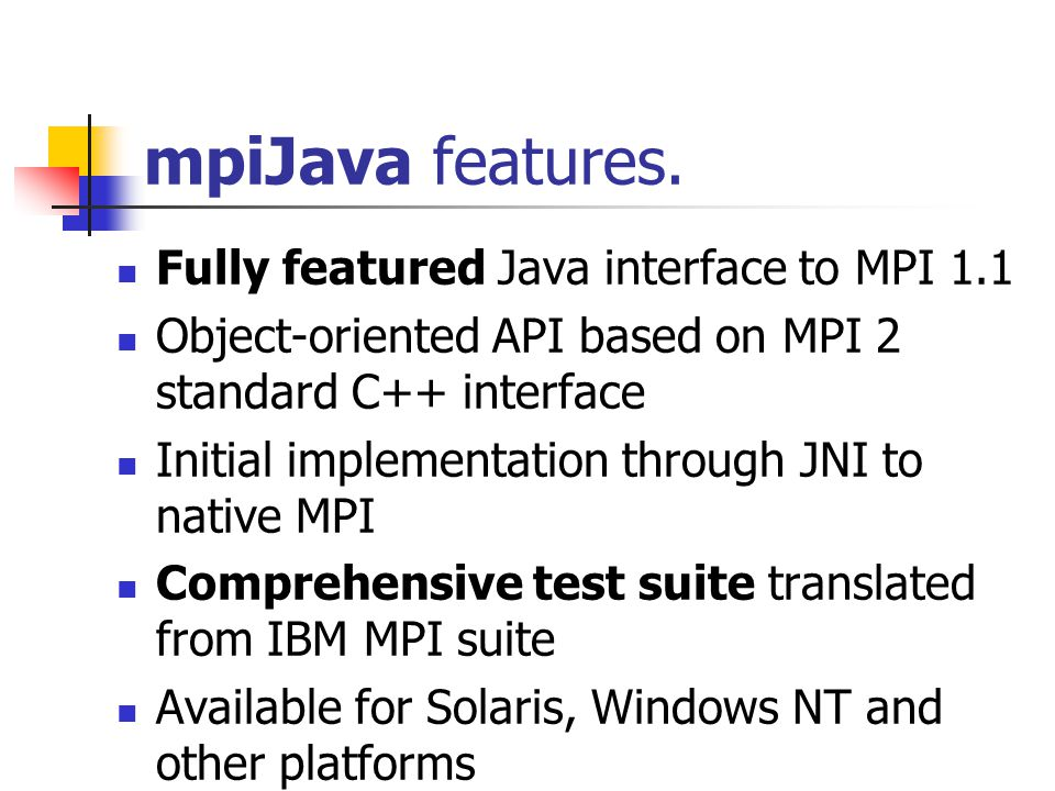 mpiJava features.