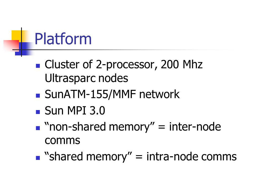 Platform Cluster of 2-processor, 200 Mhz Ultrasparc nodes SunATM-155/MMF network Sun MPI 3.0 non-shared memory = inter-node comms shared memory = intra-node comms