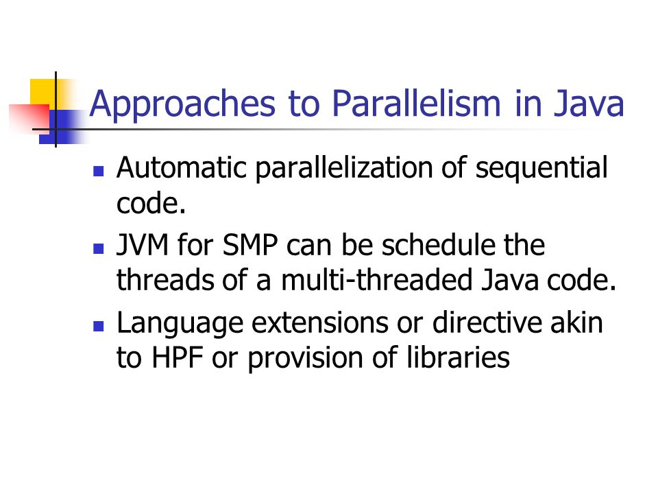 Approaches to Parallelism in Java Automatic parallelization of sequential code.