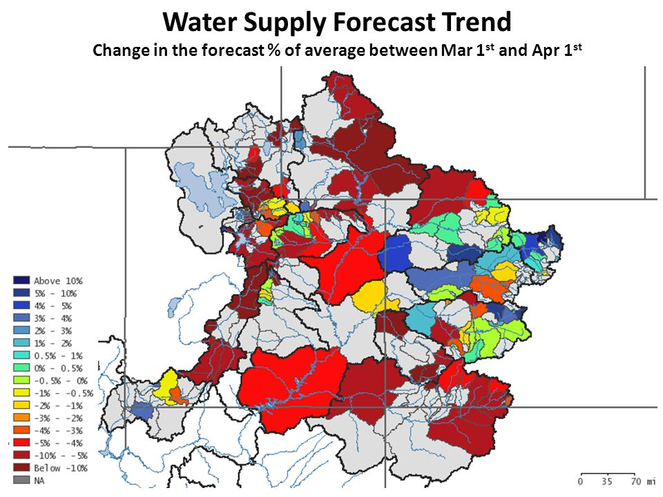 Water Supply Forecast Trend Change in the forecast % of average between Mar 1 st and Apr 1 st