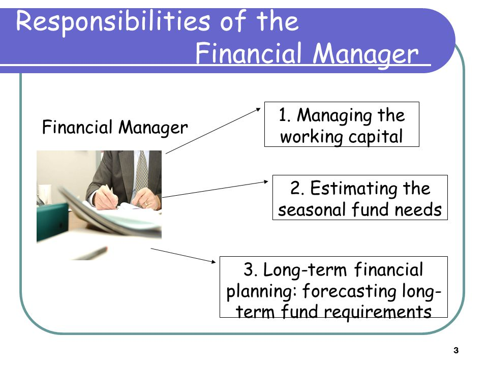 3 Responsibilities of the Financial Manager 1. Managing the working capital 2.