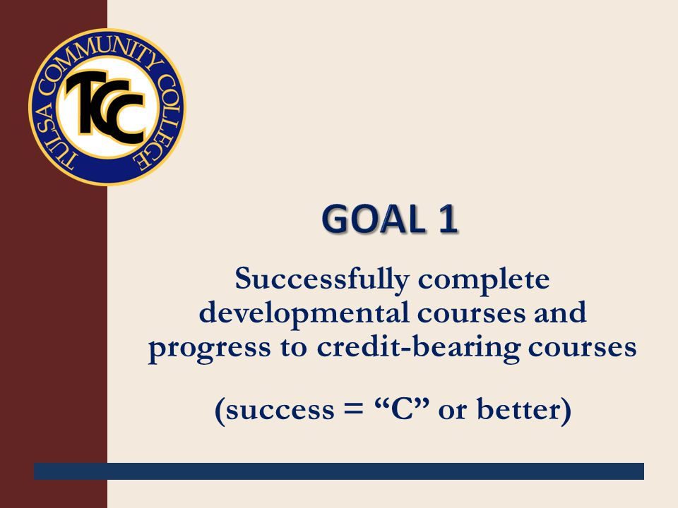 Successfully complete developmental courses and progress to credit-bearing courses (success = C or better)