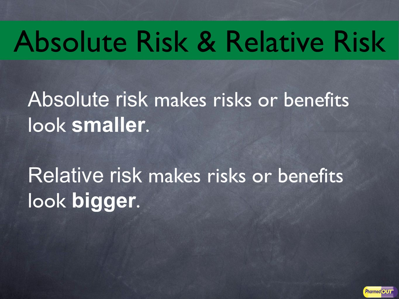Absolute risk makes risks or benefits look smaller.