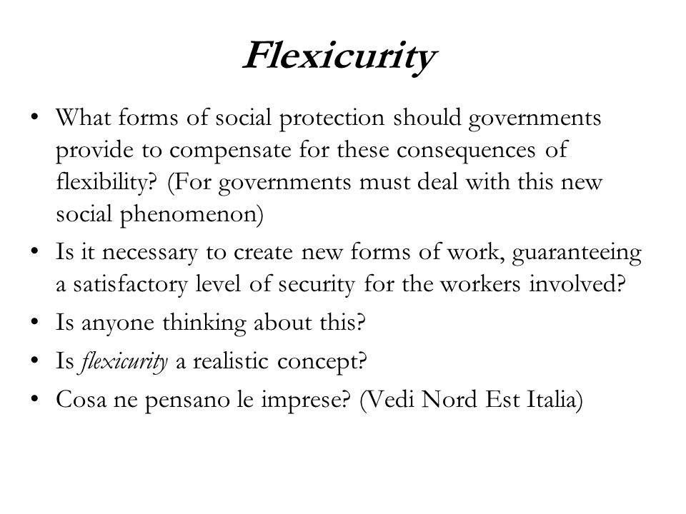 Flexicurity What forms of social protection should governments provide to compensate for these consequences of flexibility.