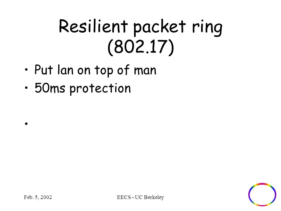 Feb. 5, 2002EECS - UC Berkeley Resilient packet ring (802.17) Put lan on top of man 50ms protection