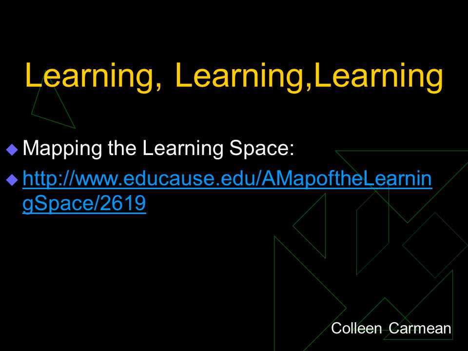 Learning, Learning,Learning  Mapping the Learning Space:  http://www.educause.edu/AMapoftheLearnin gSpace/2619 http://www.educause.edu/AMapoftheLearnin gSpace/2619 Colleen Carmean