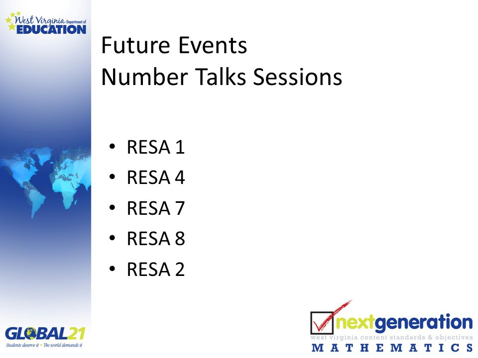 Future Events Number Talks Sessions RESA 1 RESA 4 RESA 7 RESA 8 RESA 2