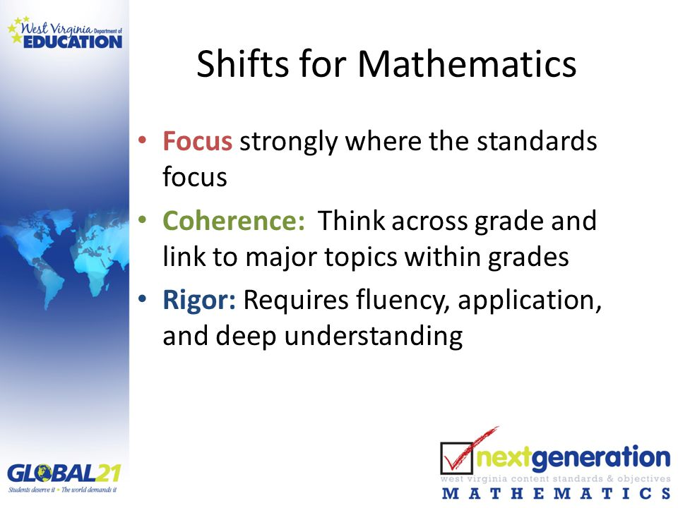 Shifts for Mathematics Focus strongly where the standards focus Coherence: Think across grade and link to major topics within grades Rigor: Requires fluency, application, and deep understanding