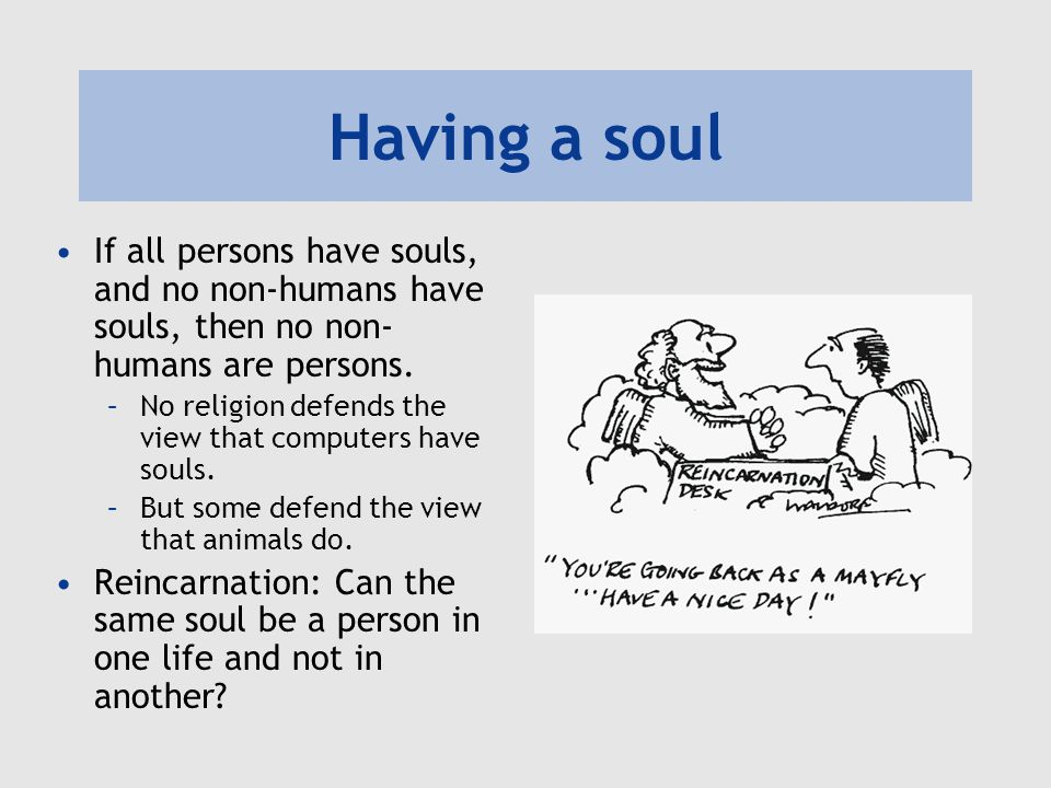 Having a soul If all persons have souls, and no non-humans have souls, then no non- humans are persons.