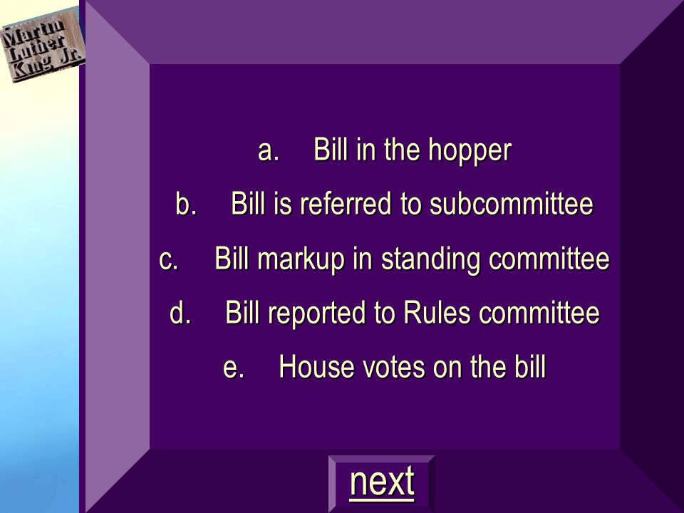 Put the steps in the correct order: a.Bill in the hopper b.Bill reported to Rules committee c.Bill markup in standing committee d.Bill is referred to subcommittee e.House votes on the bill next