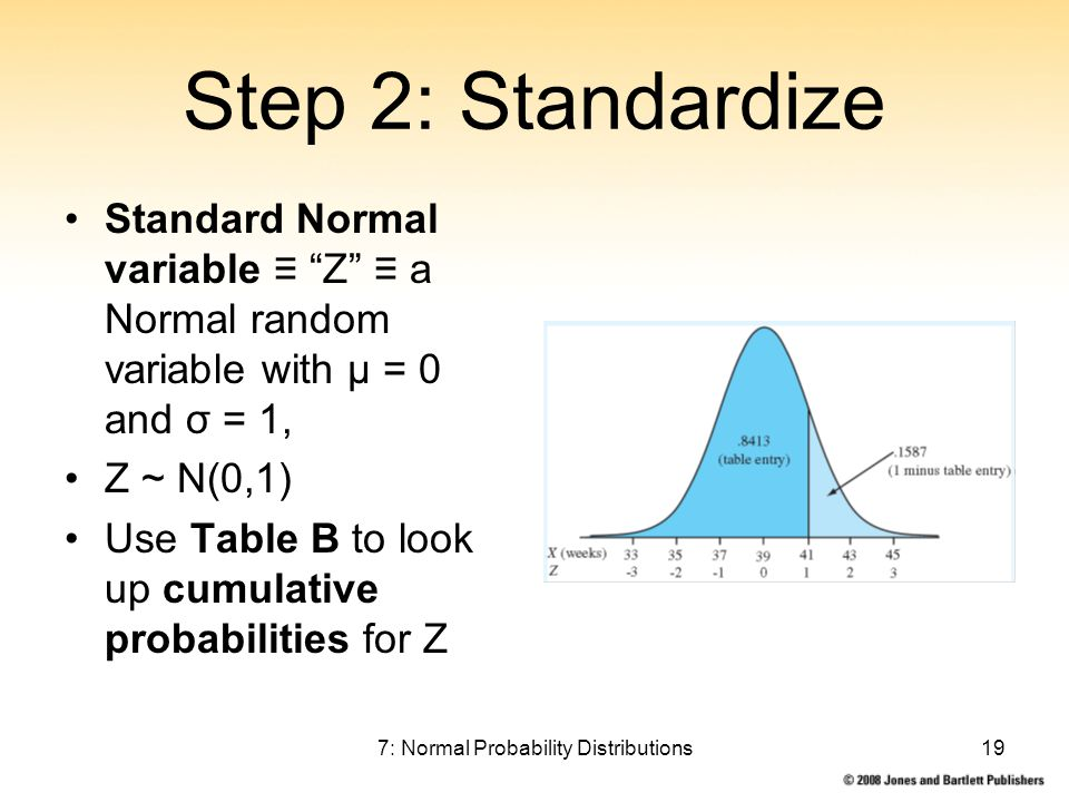 7: Normal Probability Distributions19 Step 2: Standardize Standard Normal variable ≡ Z ≡ a Normal random variable with μ = 0 and σ = 1, Z ~ N(0,1) Use Table B to look up cumulative probabilities for Z