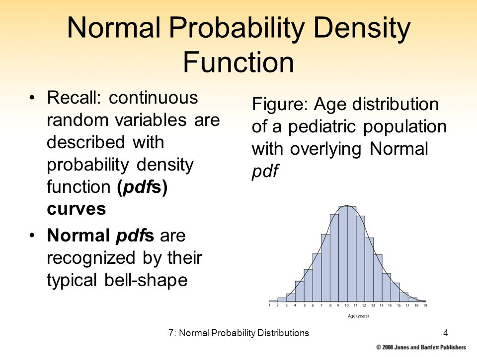 7: Normal Probability Distributions4 Normal Probability Density Function Recall: continuous random variables are described with probability density function (pdfs) curves Normal pdfs are recognized by their typical bell-shape Figure: Age distribution of a pediatric population with overlying Normal pdf