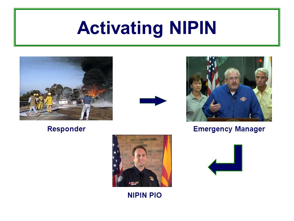 Activating NIPIN ResponderEmergency Manager NIPIN PIO