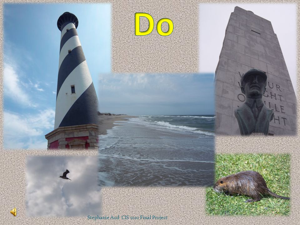 DoDon't Visit the beachLitter Tour the museumsPlay on the monuments Climb Cape Hatteras Lighthouse Draw on the lighthouse Look for wildlifeHarass the wildlife Stephanie Aud CIS 1010 Final Project