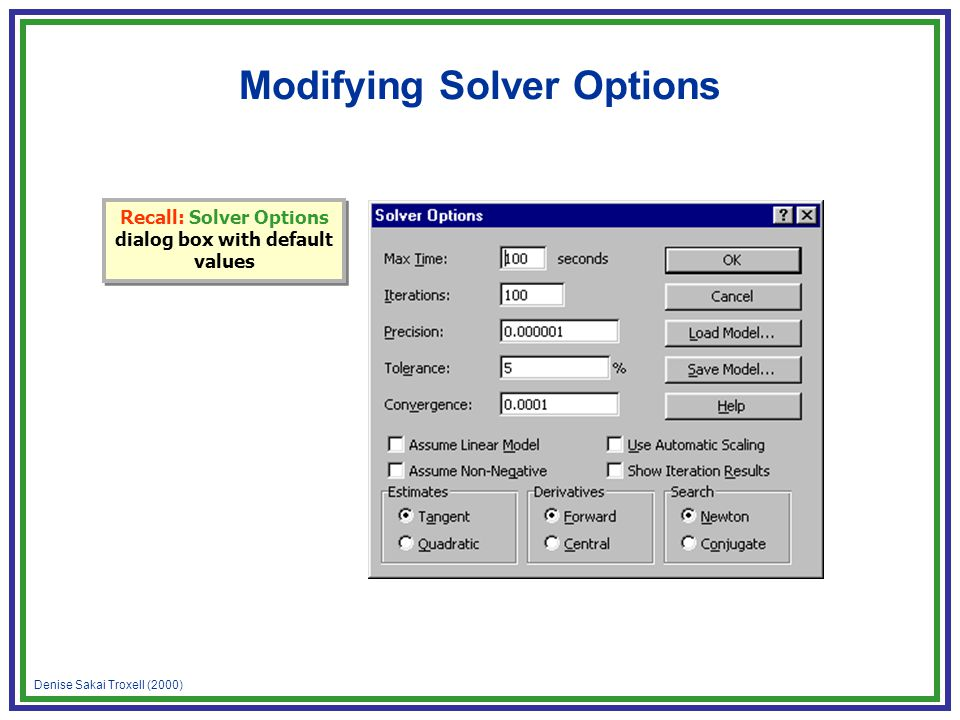 Denise Sakai Troxell (2000) Modifying Solver Options Recall: Solver Options dialog box with default values