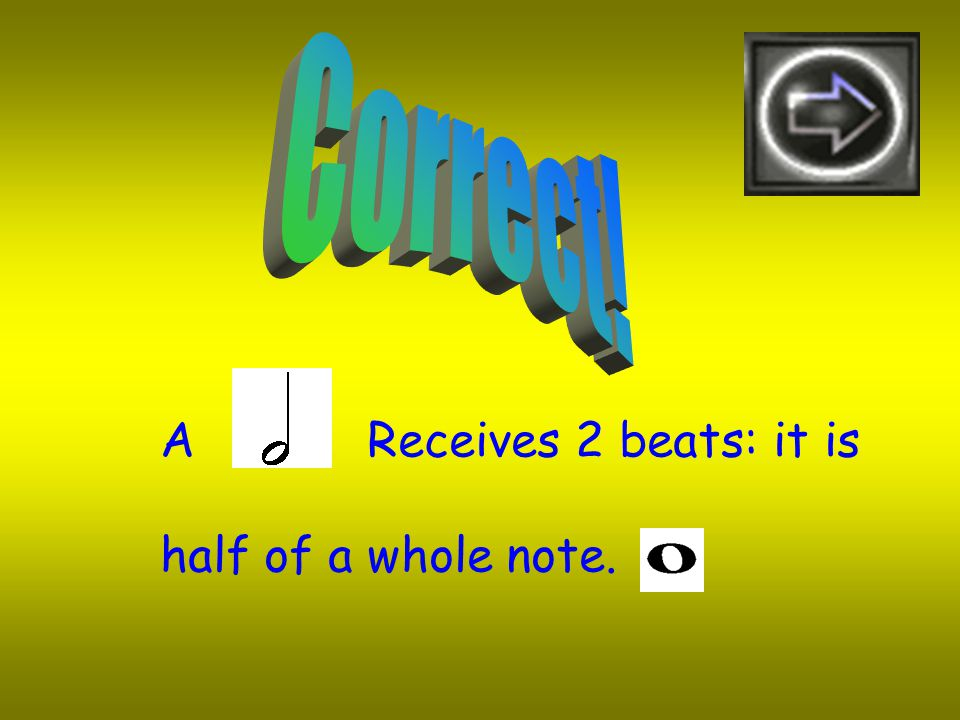 If a Whole Note receives 4 beats Then a Half Note will receive 2 Beats 3 Beats