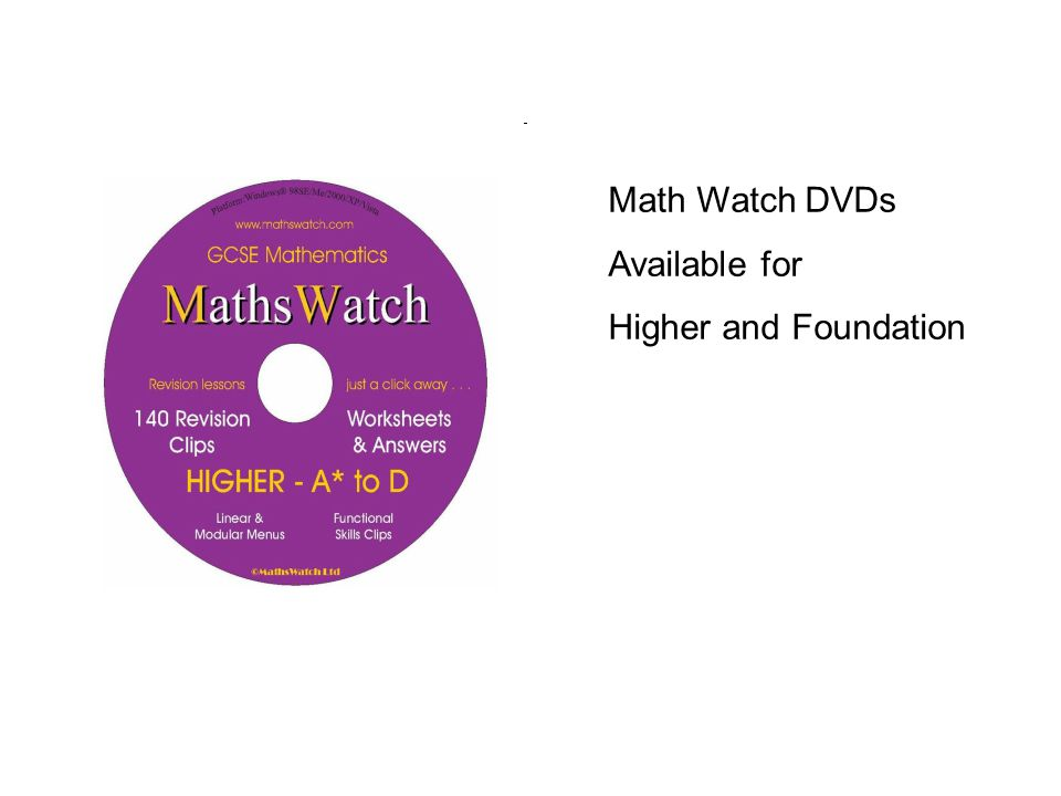 Math Watch DVDs Available for Higher and Foundation