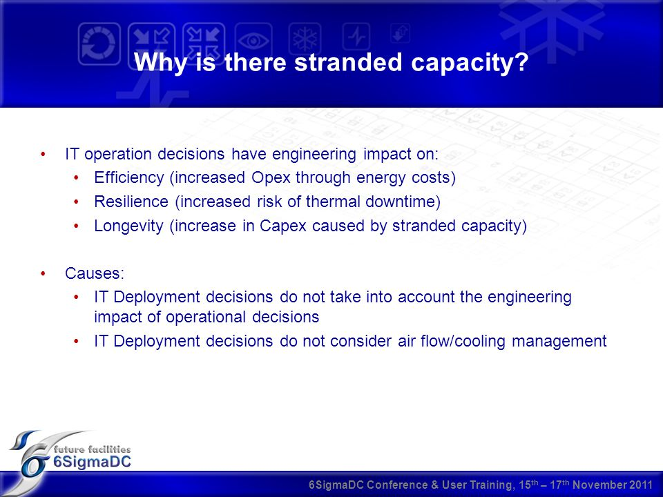 6SigmaDC Conference & User Training, 15 th – 17 th November 2011 Why is there stranded capacity.