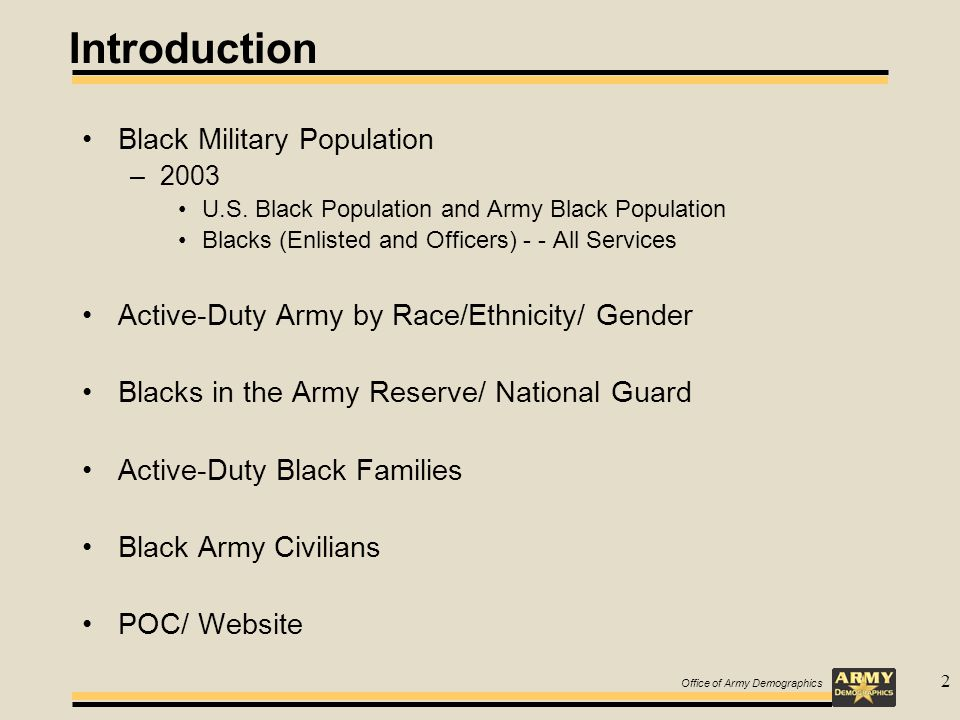 Office of Army Demographics 2 Introduction Black Military Population –2003 U.S.