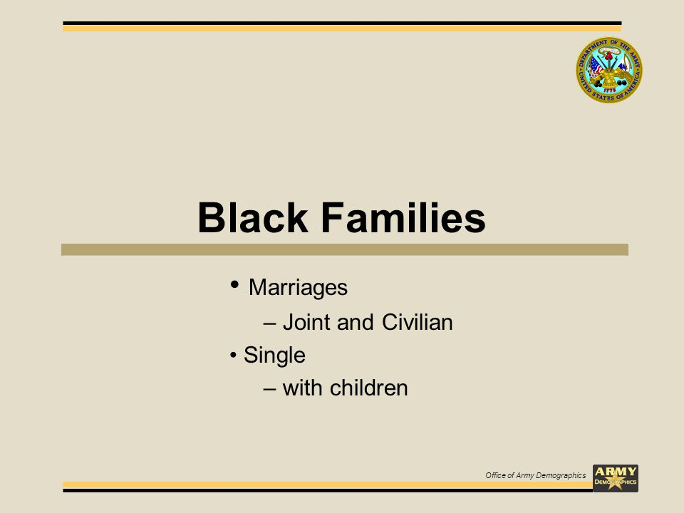Black Families Marriages – Joint and Civilian Single – with children Office of Army Demographics