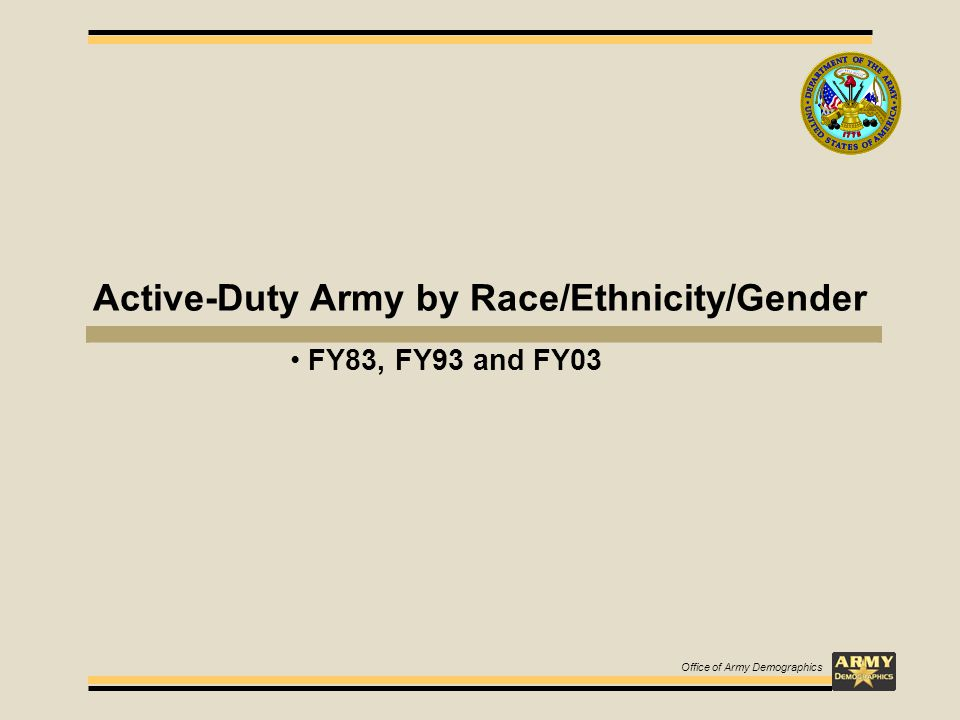 Active-Duty Army by Race/Ethnicity/Gender FY83, FY93 and FY03 Office of Army Demographics