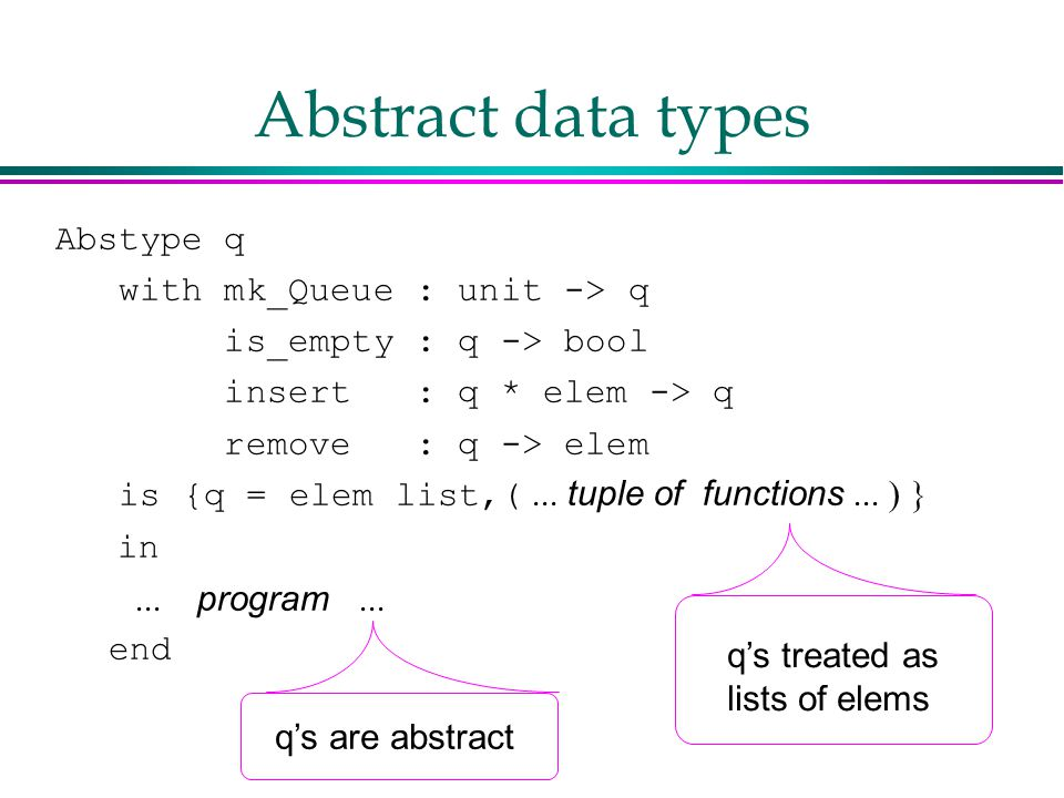Abstract data types Abstype q with mk_Queue : unit -> q is_empty : q -> bool insert : q * elem -> q remove : q -> elem is {q = elem list,(  tuple of functions   in  program   end q's treated as lists of elems q's are abstract